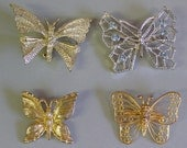 Vintage Butterfly Pins Costume Jewelry  Collection of 4  1 Signed Gerrys