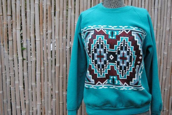 Vintage 1980's  Vacation Sweatshirt with Native American Design