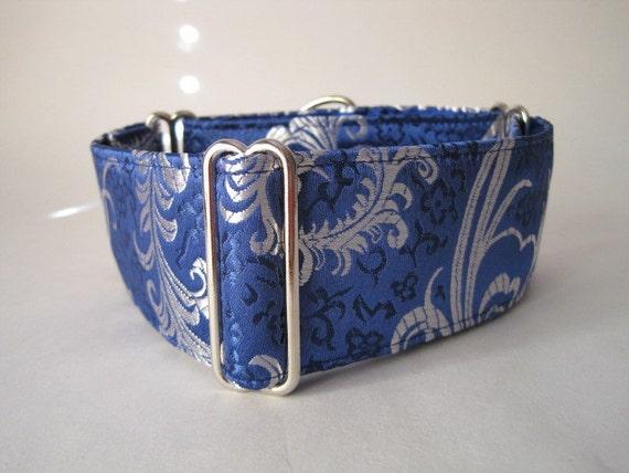 2 inch Silk Martingale Collar, Blue Martingale Dog Collar, Silk Brocade, Silk Dog Collar, Custom Dog Collar, Greyhound Collar