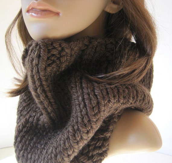Chunky Rib Knit Brown Cowl Knitted Neckwarmer