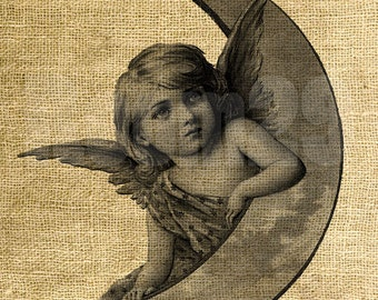 INSTANT DOWNLOAD - Angel and Moon - Download and Print - Image Transfer for Tote Bags and More - Digital Sheet by Room29 - Sheet no. 1003
