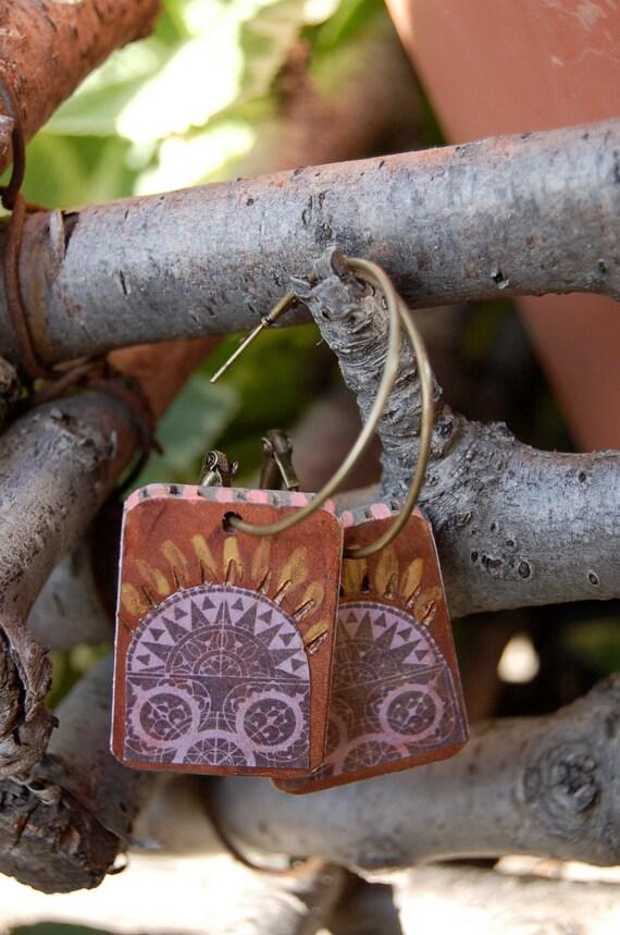 artisan  EARRINGS, hand painted rectangle squares, folk  design, reversible, on antique brass hoops by Zasra
