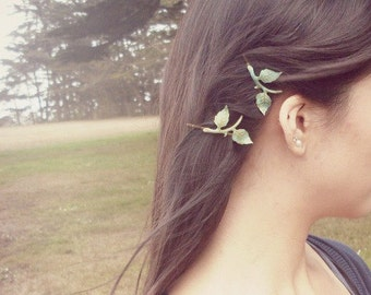 Green Leaf Branch Bobby Pins Bridal Hair Clips Nature Botanical Fairy Elf Rustic Woodland Wedding Vintage Style Accessories Womens Gift