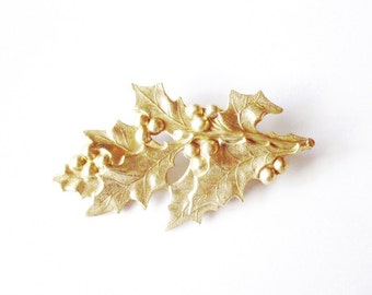 Gold Holly Leaf Barrette Bridal Hair Clip Bride Rustic Woodland Winter Wedding Accessories Christmas Holidays Unique Womens Gift For Her