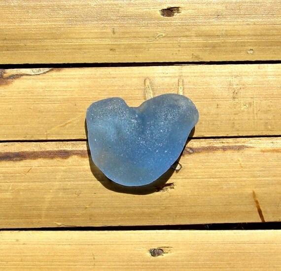 Rare Blue Sea Glass Heart - Sea Tumbled Pendant Supplies (941)