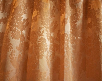 Vintage 1940's Satin Brocade Light Brown Curtain Panel