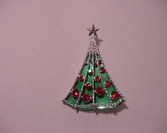 Vintage  B. J.  Rhinestone Christmas Tree Brooch  XMAS - 429