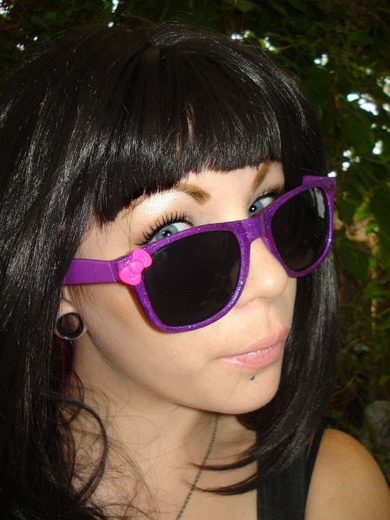 Little Lady-  Bright Purple Glitter Covered Wayfarer Sunglasses With Cute Bright Pink Bow