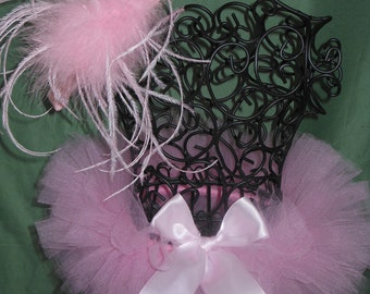 Newborn Pink Tutu w/Ostrich Feather Headband