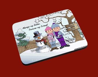 personalized Personalized Snowman and Family w 2 Adult Females image Mouse Pad