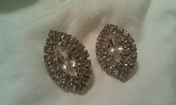 Vintage Crystal Pierced Earrings, silver plated, nickel free