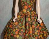 "Handmade 11.5"" fashion doll clothes - brown cotton print dress"