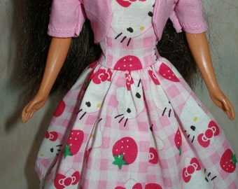 "Handmade 11.5"" fashion doll clothes - pink and white kitty strapless dress with pink jacket"
