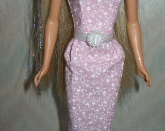 """Handmade 11.5"""" fashion doll clothes - Your choice - pick 1 - pink, orchid or blue and white cotton sheath"""