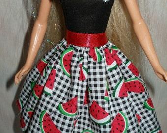 "Handmade 11.5"" fashion doll dress - watermelon print dress"