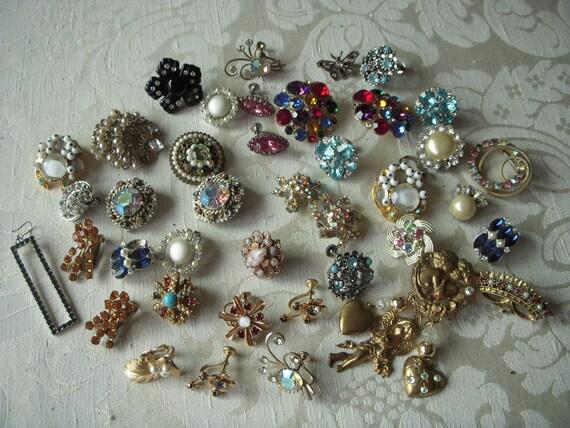 Destash Lot Unusual RHINESTONE Single Earrings  for Assemblage Repurpose Craft Earring Lot