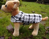 Dog Coat - Black Gray and White Houndstooth Fleece Coat- Size XX Small- 8 to 10 Inch Back Length - Or Custom Size