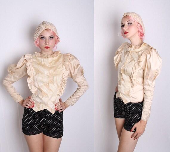 Avant Garde Edwardian Style Ivory Gold Blouse / Blouse / Blouses / Vintage Shirt / Top / Steampunk Blouse / Couture /  1230