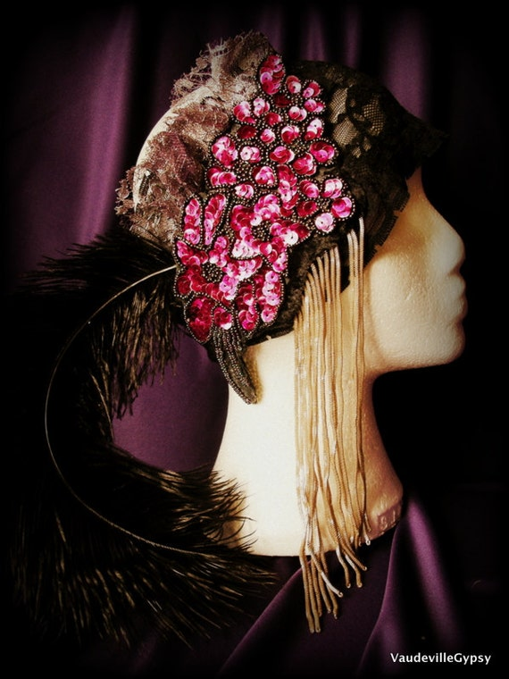Flapper 20s Headdress Fringe and Feather Headpiece Hot Pink, Silver and Black Handmade OOAK