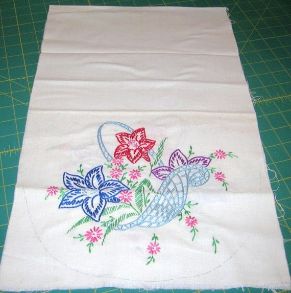 Vintage hand embroidered dresser scarf circa s by