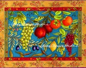 Fruit d' Ruffino Glicee Print, Grape, Pomegranate, Lemon, Olive, Persimmon, Currant, Kitchen, Berry, Artist Signed
