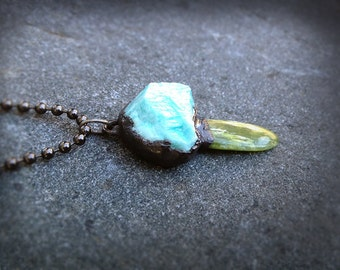 Isberg Pass Necklace, Electroformed,  Chrysocolla Natural Stone, Beach Found Jade, Copper, Alchemy, Eco Friendly, Hand Made, One of A kind