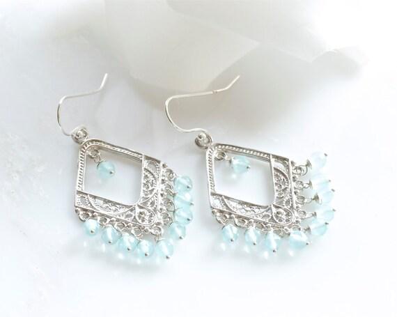sea blue quartz chandelier earrings