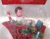 Vintage 1960s Christmas Decoration Happy Holidays Brand Deadstock NOS Original Package Angel Sleigh Candy Cane Gifts