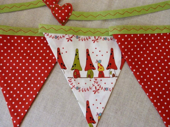 "40% off SALE ~ Christmas Bunting banner in sweet ""Fairy Houses"" fabric with 12 flags READY to SHIP"