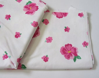 Vintage Pink Fabric / CONE Mills Duck Cloth Fabric / Pansy Canvas Yardage