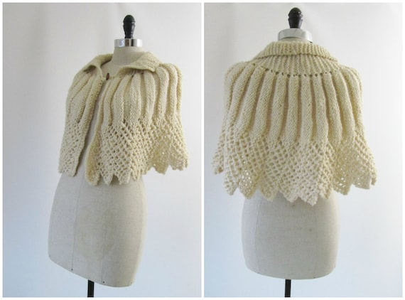1940s Knit Cape 1950s Knit Cape Vintage Hand Knit Sweater Capelet in Creme