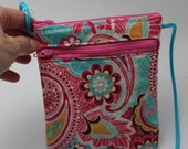 Louise Long Handle Wallet/ smartphone case in Pink & Turquoise Paisley
