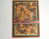 Birthday Card Greeting Card Fall Colors Brown Green Rust Washi Paper Blank Inside- You Choose Sentiment on Front