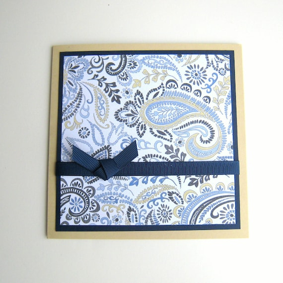 Birthday Card or Greeting Card Blue and Khaki Paisley Blank Inside- You Choose Sentiment on Front