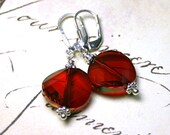 Swarovski Crystal Twist Earrings in Bright Siren Red - Red Magma -Holiday Red - Handmade with Sterling Silver - Free Shipping
