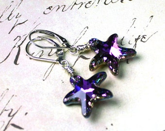 Swarovksi Crystal Starfish Earrings in Vitrail Light - Purple & Aqua - Swarovksi Crystal Wire Wrapped with Sterling Silver