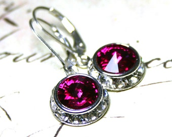 Crystal Halo Earrings in Fuschia Pink - Swarovski Crystal and Sterling Silver Leverbacks - Free US Shipping