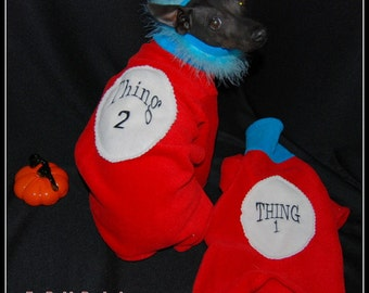 Thing 1 & Thing 2 Halloween Costume Rompers for Italian Greyhounds and all Small Dogs. This listing is for one costume.