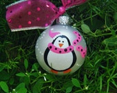 Penguin Ornament - Personalized Penguin with Pink Scarf - Hand Painted Ornament - Christmas Ornament Glass Bauble, Baby's First Christmas