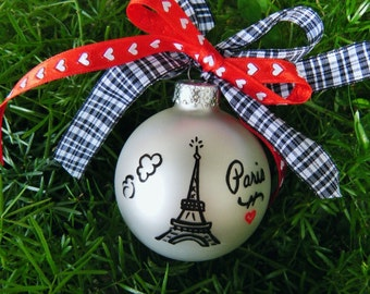 Eiffel Tower Paris Ornament - Personalized Vacation Souvenir, Milestone Vacation - French Decor, Paris France Trip Christmas Ornament