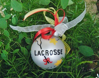 Lacrosse Ornament - for Coach, Award,  Birthday- Personalized Christmas Ornament - Hand painted Christmas Ornament - Glass Bauble for Sports