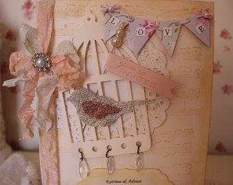 Vintage, shabby chic, birdcage wedding invitation