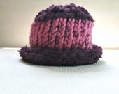 Bright Pink and Eggplant Purple Hand Knit Baby Hat using Hand Spun Hand Dyed Yarns