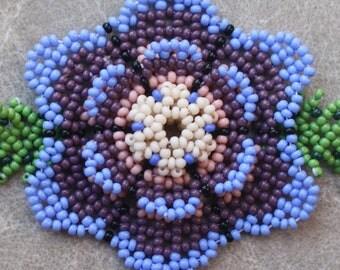 Purple Blue Beaded Flower Bracelet