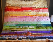 Red and Yellow and Pink and Green - Twin Size -  Rainbow Unfinished Quilt Top #1