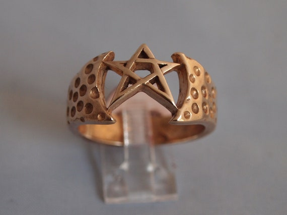 Mens Pentagram Ring in Antique Bronze