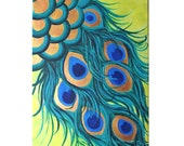 PEACOCK FEATHERS, 12x16 canvas painting, whimsical modern art