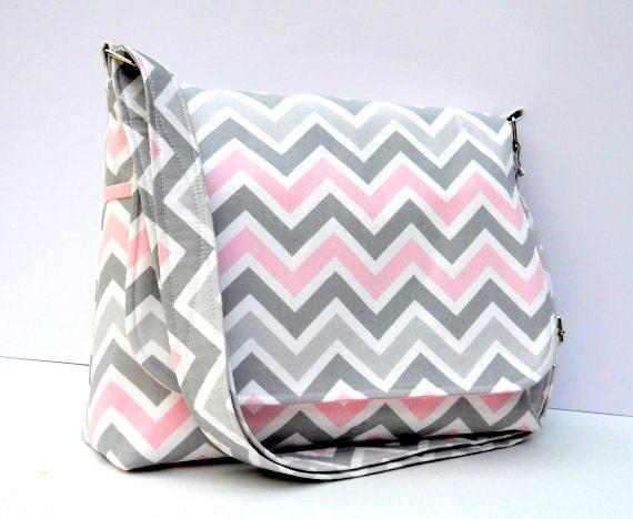 Fabric Purse Chevron Messenger Bag - Grey and Pink Zig Zag