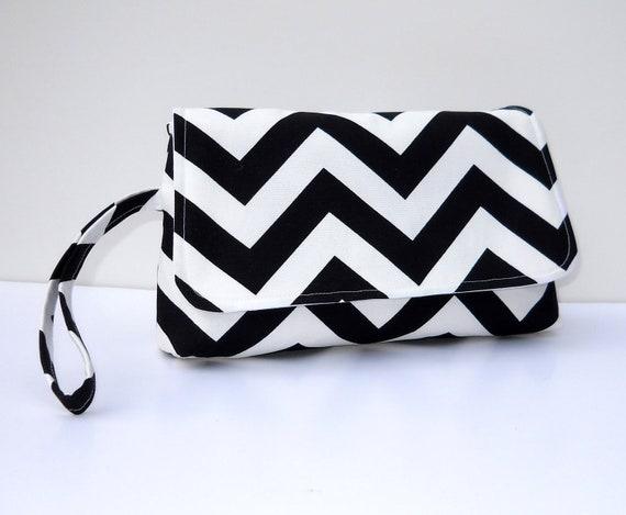 Black and White Chevron Wristlet Chevron Clutch with Flap
