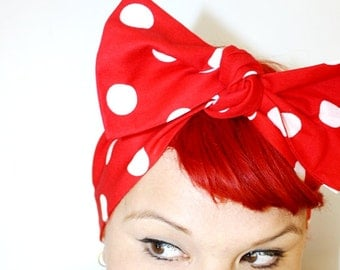 Vintage Inspired Head Scarf, Custom Color Polka Dots, Retro, Rockabilly, Vintage Inspired